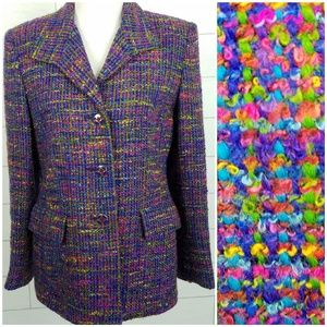 Women's 10 Vintage Colorful Tweed Blazer Jacket